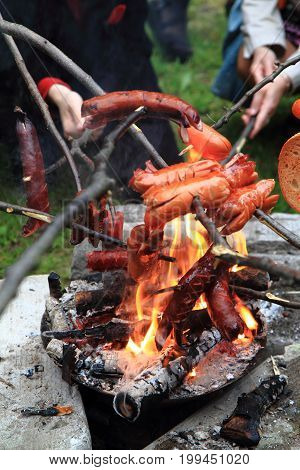Outdoor Grilled Sausages