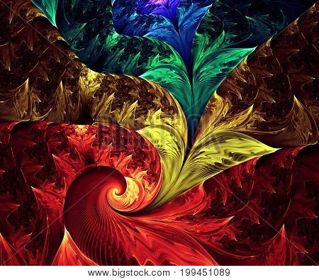 Computer generated fractal artwork with rainbow string