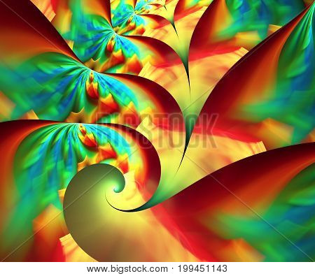 Computer generated fractal artwork with soft flower