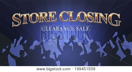 Store closing vector illustration, banner. Template flyer, poster with people for closing clearance sale