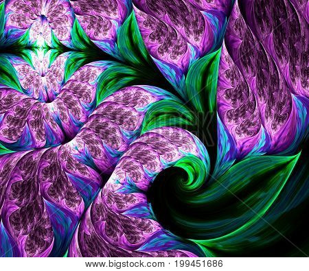 Computer generated fractal artwork with purple flowers and green leaves