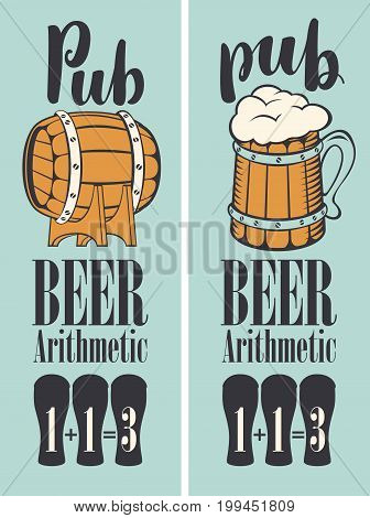 Vector banner for beer pub in a retro style with wooden barrel mug and text. Special offer arithmetic beer or three for the price of two