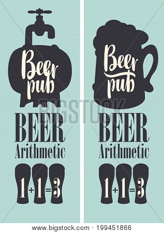 Vector banner for beer pub in a retro style with barrel mug and text. Special offer arithmetic beer or three for the price of two