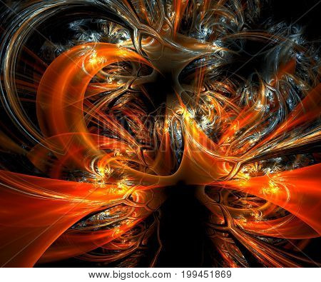 Computer generated fractal artwork eith glossy horns