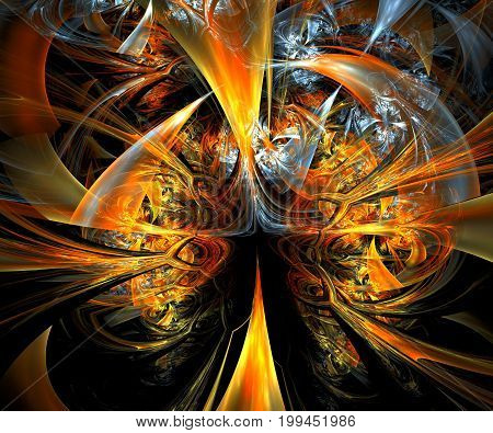 Computer generated fractal artwork with glossy tube elements