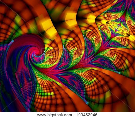 Computer generated fractal artwork with rainbow flowers