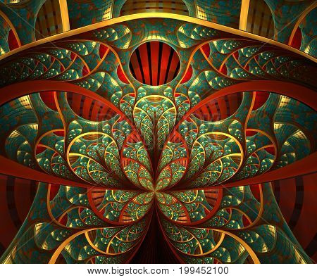 Computer generated fractal artwork with renaisance window image