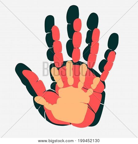Handprint of family. Palm of man, woman and child.  Symbol of parenting relationship. Mom, dad and baby hand together. Vector