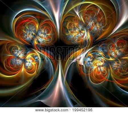 Computer generated fractal artwork with metallic triples flower