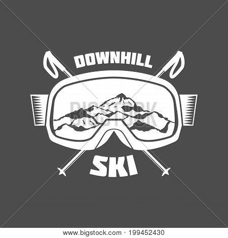 Vintage ski logo, emblem and design elements. Retro design of monochrome badge. Winter sports collection