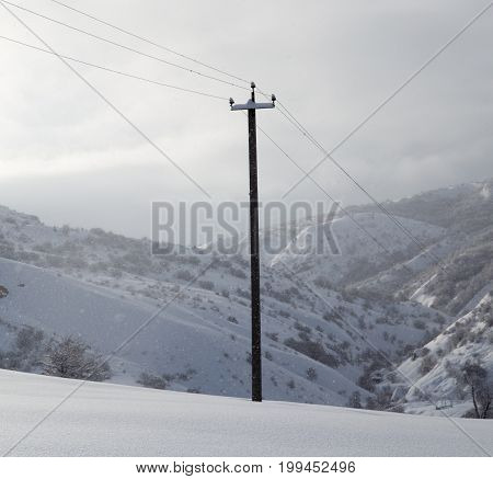 power poles in the snow . A photo