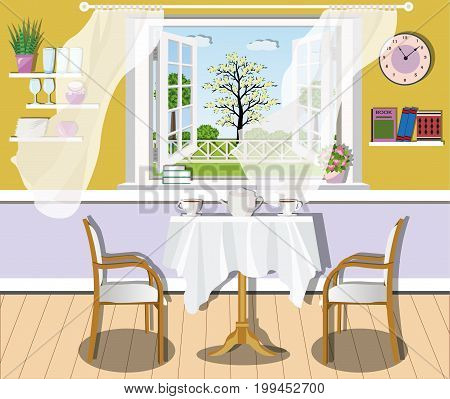 Cute modern dining room interior design with table, chairs, large window and shelves with books and dishes. Flat style vector illustration.