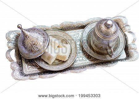 Turkish coffee and Turkish sweets lokum on the tray