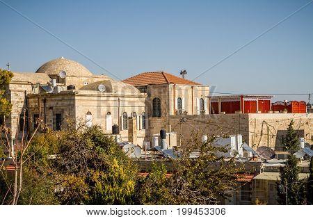 JERUSALEM, ISRAEL - DECEMBER 8: View of the Old City from the walls of the Old City of Jerusalem, Israel on December 8, 2016