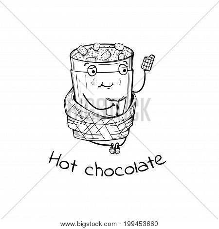Vector illustration character of warming hot chocolate with book and plaid