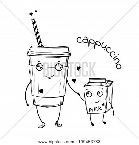 Vector sketch illustration of cappuccino and milk cute characters in love, isolated