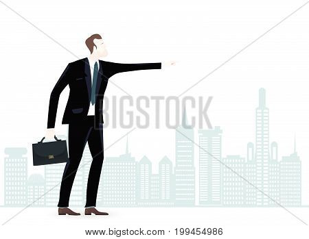 Businessman in suit in the City pointing the direction for business developing