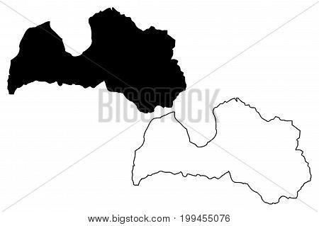 Latvia map vector illustration , scribble sketch Latvia