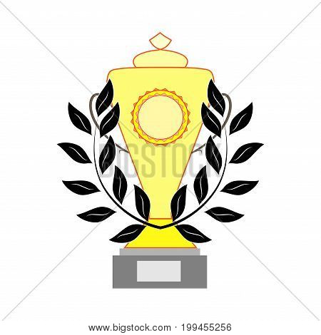 Gold cup and black reward sign. Modern symbol of victory award achievement sport. Insignia ceremony awarding of winner tournament. Color template for badge tag. Design element. Vector illustration