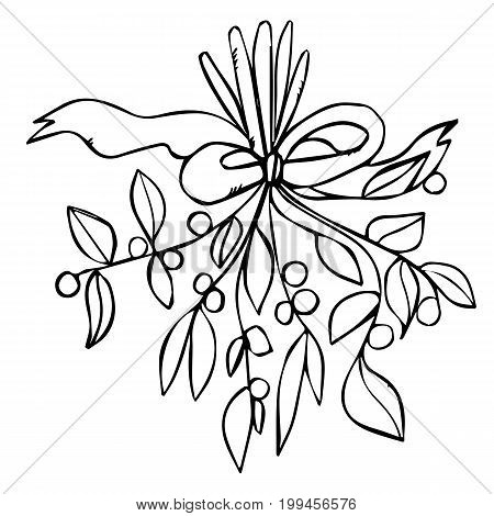 Romantic bouquet of mistletoe with a bow. Black contour lines isolated on white background. Bunch of flowers. Design with mistletoe good for cards, invitations, wedding, Xmas and New year.