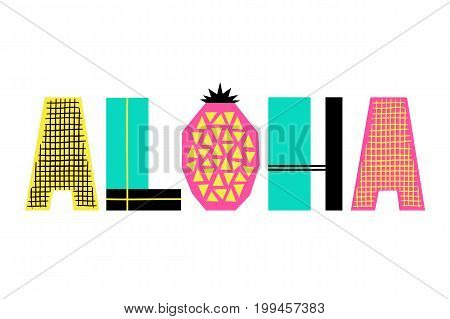 Hand Drawn Summer phrase Aloha in trendy cutout style