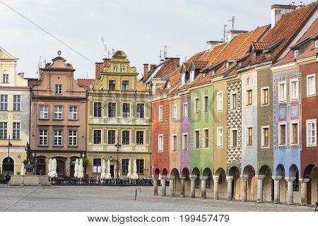 view of main square Rynek of polish city Poznan at the morning