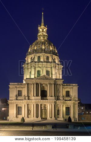 Facade of Cathedral Les Invalides at midnight
