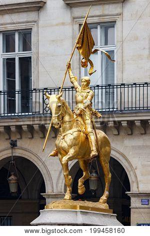 Statue Joan Of Arc In Paris Near Louvre Palace
