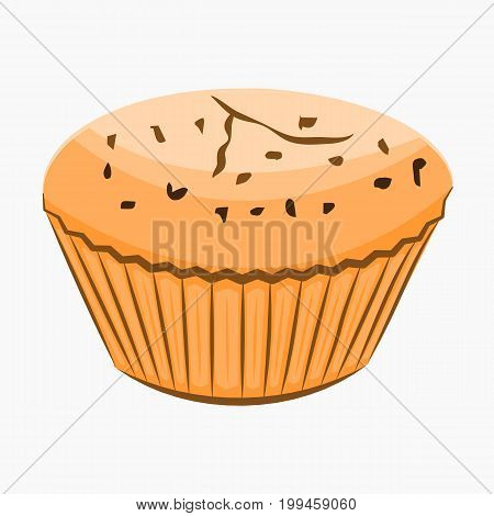 Cupcake with chocolate chips. Cartoon Icon. illustration.Isolated on white