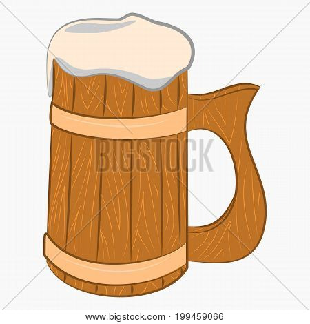 Wooden mug with beer cartoon Icon isolated on white background.