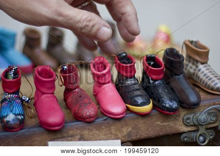 Cobbler's hand making shoes in Antalya Turkey