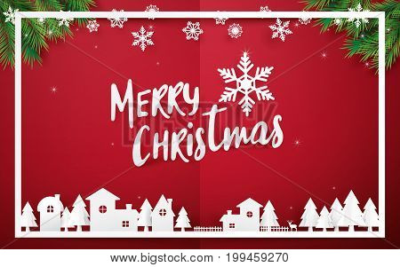 Merry Christmas and Happy new year. Merry Christmas lettering with Christmas trees on red background. Paper art and origami style design