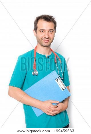 Doctor Holding Medical Records Isolated On Background