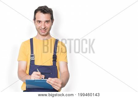 Mechanic Worker With Clipboard Isolated On White