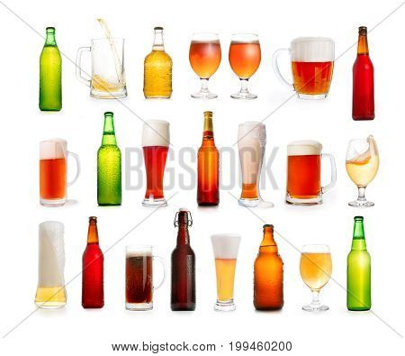 Different Types Of Beer In Glasses And Bottles Isolated On White