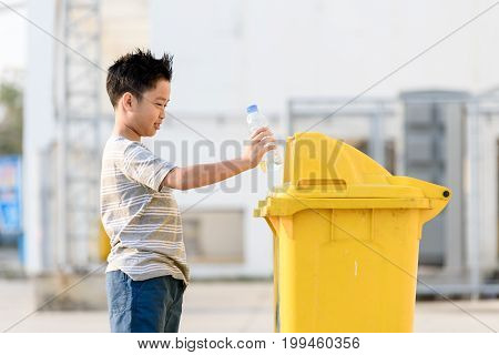 Boy Drop Plastic Bottle