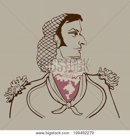 Vector portrait in profile of Figaro in sepia style