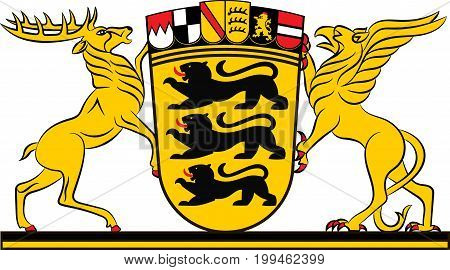 Coat of arms of Baden-Wuerttemberg is a state in Germany located in the southwest east of the Upper Rhine. Vector illustration from the