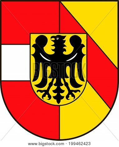 Coat of arms of Breisgau-Hochschwarzwald is a district in the southwest of Baden-Wurttemberg Germany. Vector illustration from the