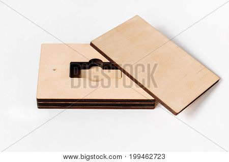 Empty Packaging For Usb Drive. Wooden Box For Usb-storage For A Photographer, On A White Isolated Ba