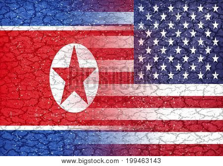 North Korea Vs Usa Conflict Concept Background