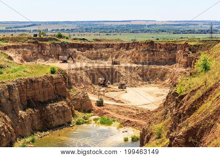 Quarry for the extraction of limestone and gravel, mining industry, yellow and orange rocks