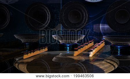 3D rendering. Pastiche musical speakers and columns of the oscilloscope. Multiple reflection. The top part of the mirror ball. Visual display of sound waves. Illustration on the theme of modern music.