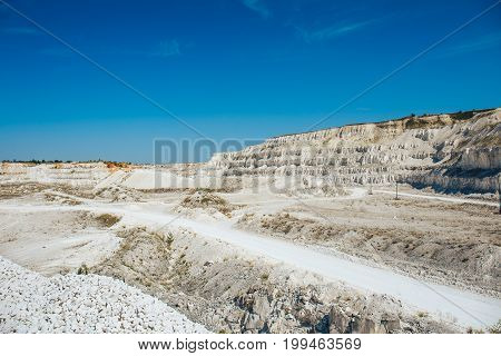 Panorama of open-cast quarry, limestone and chalk mining