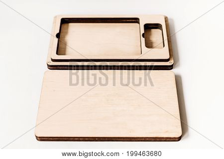 Empty Wooden Box For Gift Or Photo With Usb Stick, Free Space. Packaging For Photo And Usb Drives On