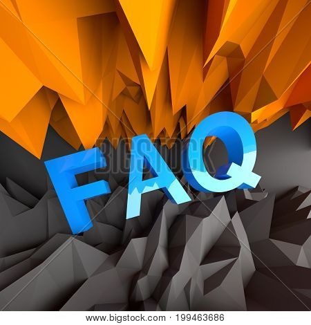 FAQ frequently asked questions text on abstract black and orange background. 3D Rendering.