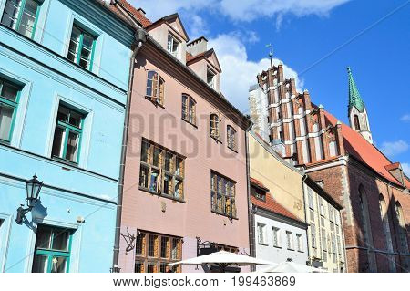 Riga Latvia. Beautiful buildings in the Old Town
