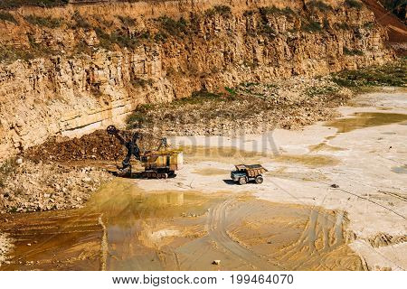 Quarry machines and equipment for extraction of minerals, copy space