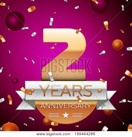Realistic Two Years Anniversary Celebration Design. Golden numbers and silver ribbon, confetti on purple background. Colorful Vector template elements for your birthday party