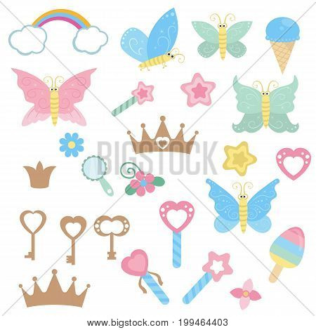 Set of fairy design elements. Fairy theme with magic wand butterfly and keys. Fairy cartoon icon set.